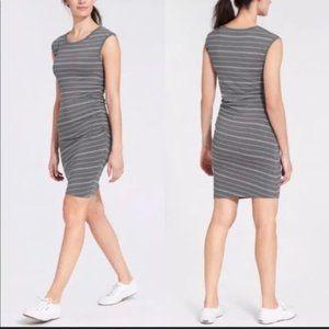 ATHLETA Carefree Tee Dress Gray White Stripe NWT